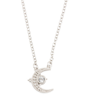 Sterling Silver Topaz Little Luxuries Crescent Necklace