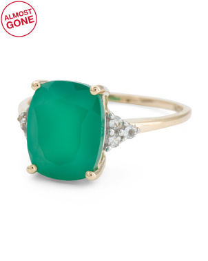 Made In India 14kt Gold  Green Onyx And Topaz Ring