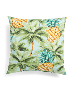 Made In Usa 22x22 Indoor Outdoor Pineapple Print Pillow