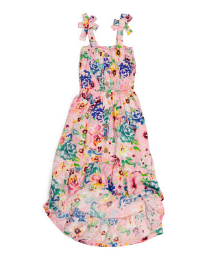 Big Girls Tie Shoulder Smocked Dress