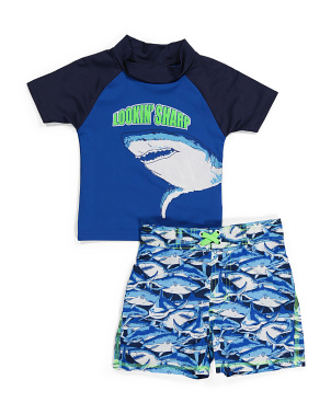 Toddler Boys Rash Guard Swim Set