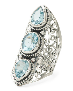 Made In India Sterling Silver Blue Topaz Ring