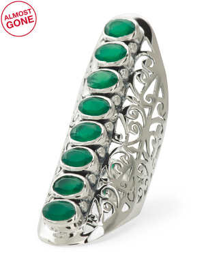 Made In India Sterling Silver Green Onyx Ring