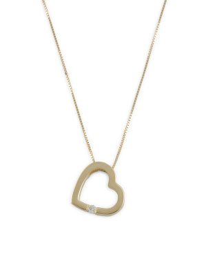 Handmade In Israel 14k Gold And Diamond Heart Necklace