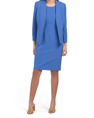 Sheath Dress With Open Stretch Crepe Jacket