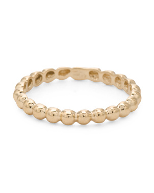 Made In Spain 14k Gold Beaded Eternity Band Ring