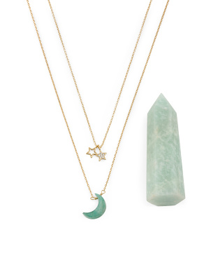 14k Gold Plated Amazonite Moon Crystal Necklace Set