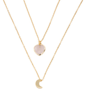 14k Gold Plated Rose Quartz Heart And Moon Necklace Set
