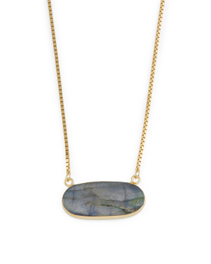 14k Gold Plated Sterling Silver Labradorite Stone Necklace