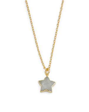 14k Gold Plated Sterling Silver Moonstone Star Necklace