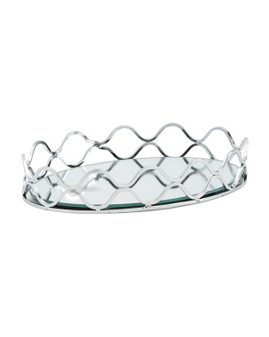 Wire Oval Tray With Mirror Base