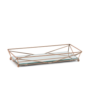 Wire Rectangular Tray With Mirror Base