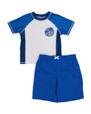 Little Boy Magic Print Rash Guard Set