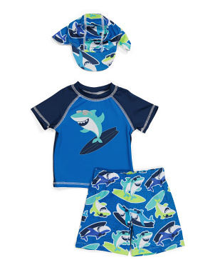 Toddler Boy 3pc Lil Shark Surf Swim  Set
