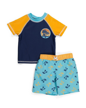 Toddler Boy Palm Horizon Rash Guard Swim Trunk Set