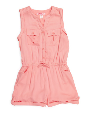 Big Girls Romper With Pockets