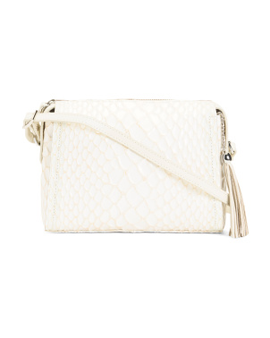 Leather Reptile Embossed Crossbody