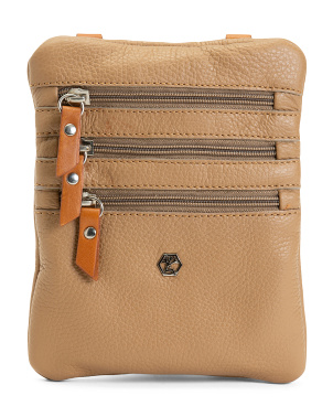 Made In Italy Leather North South Triple Zip Crossbody