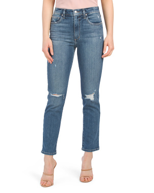 High Rise Straight Ankle Jeans With Grinded Hem