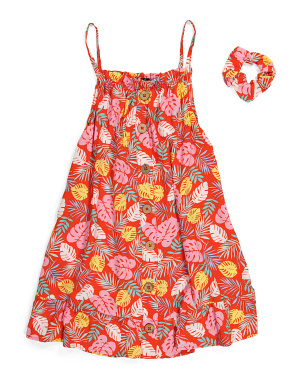 Big Girls Tropical Palm Dress