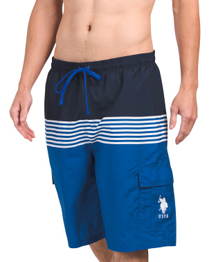 Stripe Cargo Swim Shorts