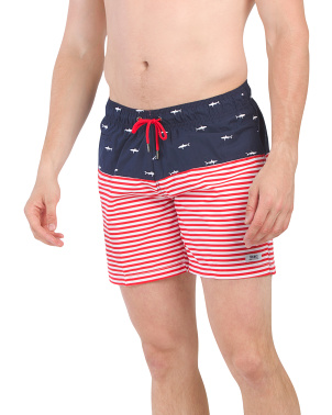 Embroidered Shark Flag Sano Swim Shorts