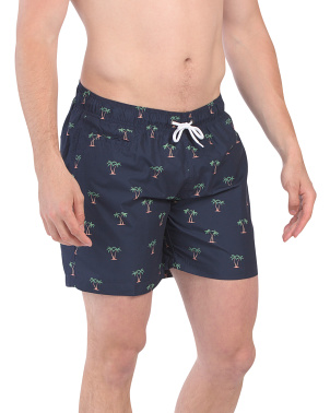 Small Palm Printed Sano Swim Shorts