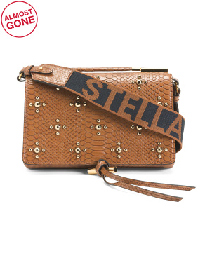 Made In Italy Studded Faux Snake Shoulder Bag