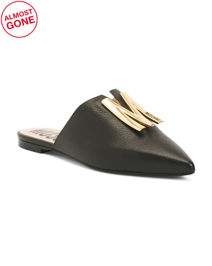 Made In Italy Leather Logo Mules