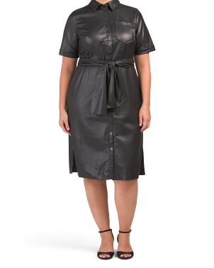 Plus Faux Leather Trench Dress