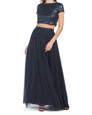 2pc Sequin Cropped Bodice Tulle Gown