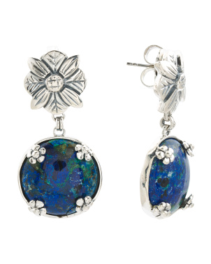 Made In India Sterling Silver Azurite And Malachite Earrings