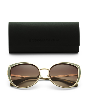 56mm Epoxy Accented Metal Cateye Sunglasses