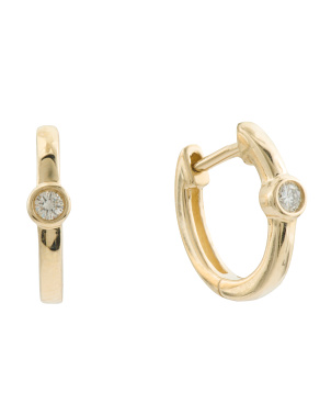 14k Gold Diamond Bezel Huggie Earrings