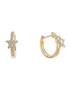 14k Gold Diamond Star Hoop Earrings