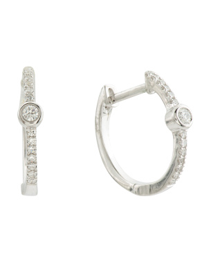 14k White Gold Diamond Bezel Hoop Earrings