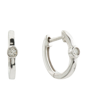 14k White Gold Diamond Bezel Huggie Earrings