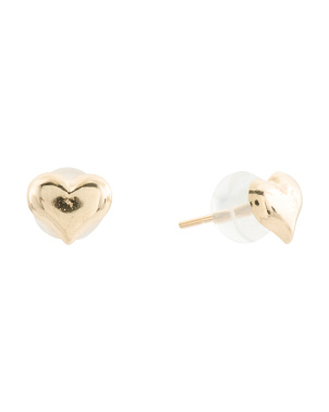 Made In Usa 14k Gold Puff Heart Stud Earrings