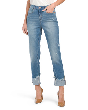 Soho High Rise Straight Jeans With Destruction