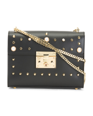 Made In Italy Leather Studded Crossbody