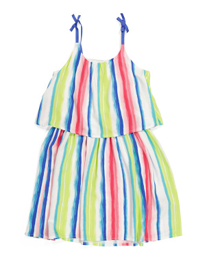 Big Girls Watercolor Striped Dress