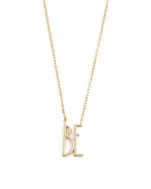14k Gold Plated Sterling Silver Be Necklace