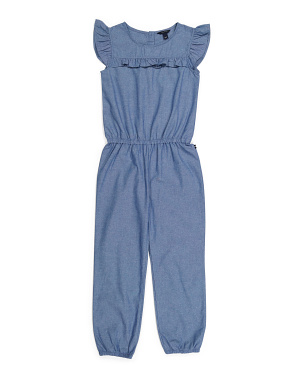 Big Girls Chambray Ruffle Jumpsuit