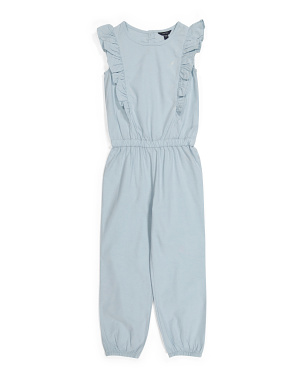 Big Girls Vertical Chambray Jumpsuit