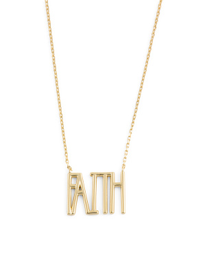 14k Gold Plated Sterling Silver Faith Necklace