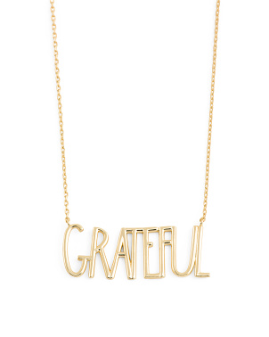 14k Gold Plated Sterling Silver Grateful Necklace