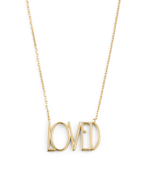 14k Gold Plated Sterling Silver Loved Necklace