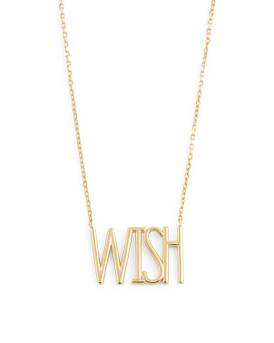 14k Gold Plated Sterling Wish Necklace