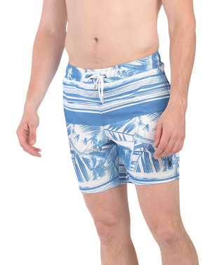 Hawaiian Palm Printed Volley Shorts