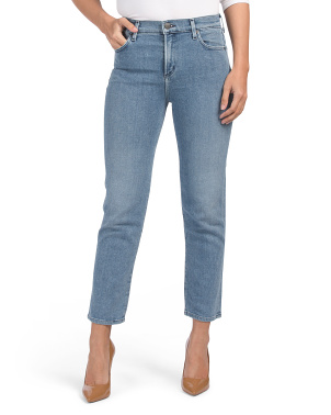 High Rise Slim Straight Cropped Jeans